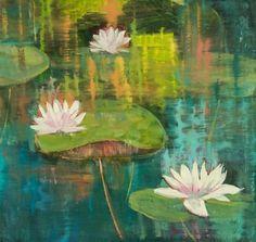"Daily Paintworks - ""Landscape Oil Painting Lily Pond VI  by Colorado Artist Susan Fowler"" - Original Fine Art for Sale - © Susan Fowler"