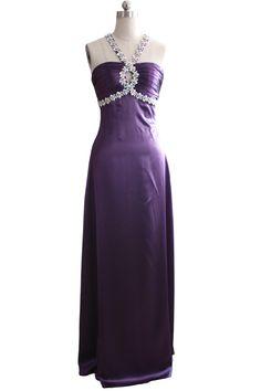 $199.89 Sheath Column Straps Court Train Satin dress with Beading -Evening Dresses-DeniseDress