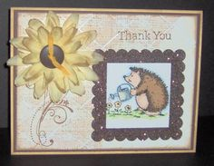 sunflower hedgie thanks Stampin Up Hedgehog Happiness