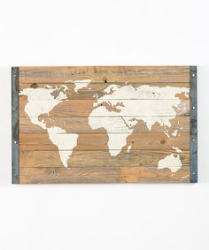 Another great find on #zulily! Wood Bordered World Map Wall Art by DelHutson Designs #zulilyfinds