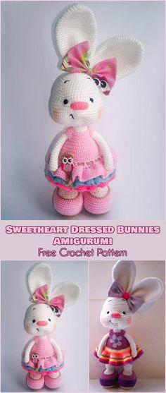 Sweetheart Dressed Bunnies Amigurumi [Free Crochet Pattern] Easter decorations, easter bunny pattern