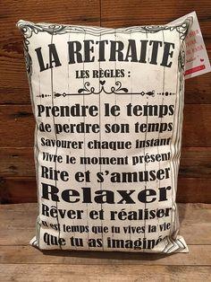 """Coussin """"La retraite les règles"""""""