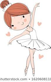 Immagine vettoriale stock 1620608110 a tema Cute Ballerina Dancing White Tutu (royalty free) Art Drawings For Kids, Drawing For Kids, Cool Drawings, Girl Drawing Sketches, Baby Drawing, Doodle Art, Cartoon Mignon, Ballerina Art, Ballerina Dancing