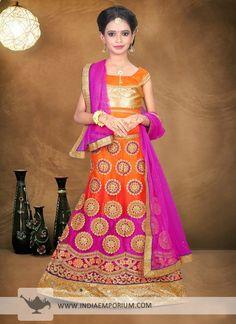 Appealing Orange & Pink Net #Mirror #Work #Kids #Lehenga #Choli