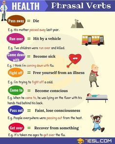 List of useful health phrasal verbs in English with their meaning and examples. Learn these common phrasal verbs for health, fitness, sickness and death with ESL picture to increase your English vocabulary. English Vinglish, English Verbs, Learn English Grammar, Learn English Words, English Phrases, English Language Learning, English Writing, English Study, English Lessons