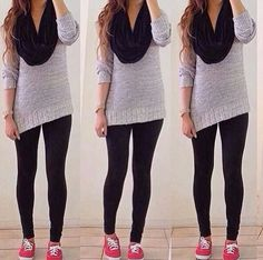 Winter - grey sweater, black jeans, and boots. Outfits For Teens, Casual Outfits, Cute Outfits, School Outfits, College Outfits, Casual Wear, Fall Fashion Outfits, Teen Fashion, Fashion Wear
