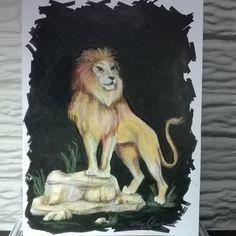 """""""Leão"""" (técnica mista - pastel oleoso e nanquim s/papel) *um desenho que tinha…"""