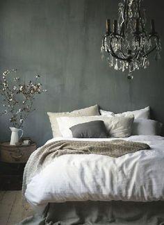 Déco chambre grise et lin ambiance baroque