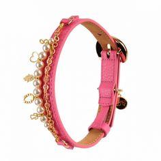 monalisa leather dog collar pink by Moshiqa $120.00  #Moshiqa #BitchNewYork #dogs #dogcollar #leatherdogcollar #pink