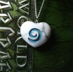 I Heart World of Warcraft inspired Hearthstone REAL STONE pendant with chain or cord