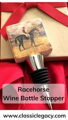 This Classic Legacy marble wine bottle features the art of a vintage race horse. Equestrians, racehorse fans, and wine lovers will love this gift. It is handmade in the USA. Wine Bottle Stoppers, Wine Bottle Crafts, Custom Wine Bottles, Iroquois, Thing 1, Racehorse, Black Gift Boxes, Horse Photos, Wine Storage