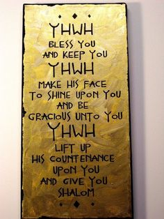 YHWH bless you and keep you...
