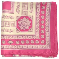 Pink ornamental Versace scarf in pink. Authentic Versace women foulard Sale $199 - free gift box