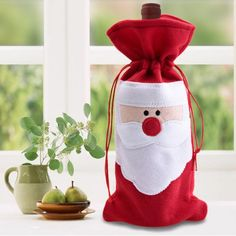 Red Wine Bottle Cover Bags Christmas Table Dinner Decoration Home Party Decors (christmas table cover) Christmas Wine Bottles, Christmas Favors, Christmas Bags, Red Christmas, Christmas Crafts, Christmas Ornaments, Christmas Cover, Christmas Poinsettia, Felt Decorations