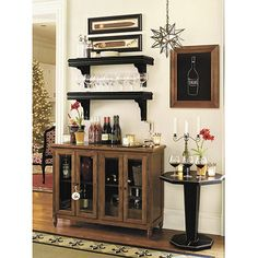 option for breakfast nook: small buffet cabinet or dresser with wall shelves above.