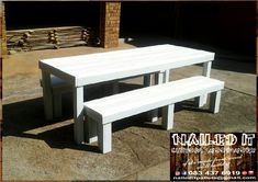 6 Seater table and bench set. Sea-green frame with a white top. Perfect for indoor & outdoor use. If it's made from wood, we'll build it. For more info contact us on 0834376919 or naileditpallets@gmail.com #outdoorpatio #outdoorfurniture #patiofurniture #tableandbenches #naileditwoodworxdurban #custompalletwoodfurnituredurban #custompalletfurniture #palletbenchseat #naileditpalletwoodfurniture #nailedpalletfurnituredurban #naileditcustombuiltpalletfurniture