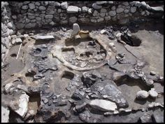 A shrine excavated at the entrance of a fortress' west terrace in Gegharot in Armenia. The stone stele like would've been a focal point for rituals practiced there some 3,300 years ago.