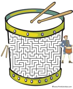 This drum shaped maze is a wonderful worksheet for kids. Move the drumsticks thru the maze to the dummer. Drum Lessons, Piano Lessons, Music Lessons, Music Activities, Music Games, Music Songs, Leadership Activities, Group Activities, Indie Music