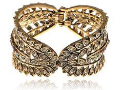 Gold Tone Crystal Rhinestone Feather Design Gold Tone Bracelet Bangle Cuff Alilang. $15.99