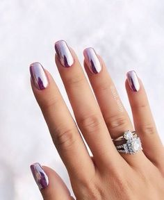 50 Trendy Nail Art Designs to Make You Shine -Amazing Glossy Chrome Nails for You Red Manicure, Manicure E Pedicure, Manicures, Manicure Ideas, Gorgeous Nails, Pretty Nails, Hair And Nails, My Nails, Crome Nails