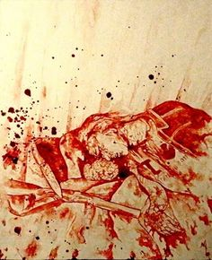 "Per Yngve Ohlin ""Dead"" Suicide from Mayhem. From Black Metal Tributes Collection - Maxime Taccardi (Painted with his own blood)."