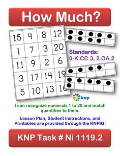 """How Much?"" - You and your child will be matching numerals and quantities in order to make a line. Use the printable dot cards to get a quantity and then cover the matching numeral on the game board with your marker. [Grade: 2]"