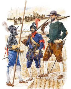 Spanish; Armada Campaign 1588 - Heavy Pikeman, Musketeer & Caliverman by Richard Hook