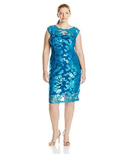 c91086a02e6f Adrianna Papell Womens PlusSize Cap Sleeve Illusion Sequin Lace Cocktail  Dress Turkish Blue 20W **