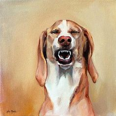 """Something funny, Teddy?  Must be an inside joke. Oil on Canvas, 15"""" x 15"""" www.juliepfirsch.com School Portraits, Pet Portraits, Dog Art, Wolves, Mammals, Oil On Canvas, Group, Pets, Drawings"""