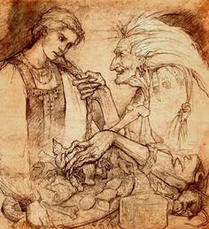 Baba Yaga tasks Vasilissa with impossible tasks by Forest Rogers