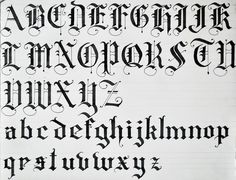 Old English Calligraphy Alphabet | Black Letters using uppercase and lowercase letters""