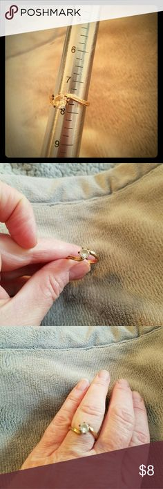 Gold Color with white sapphire ring Vintage, size 7.75 Jewelry Rings