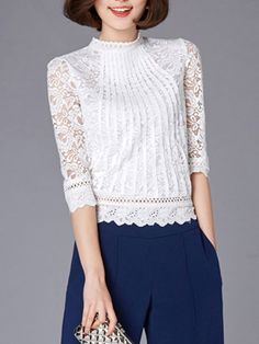 Lace Patchwork Alluring Crew Neck Blouses