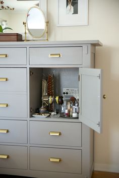 ikea dresser hack - grey paint and gold pulls