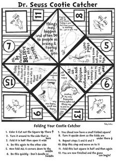 Fun Cootie Catcher for Dr. Seuss Week at school.