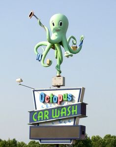 Octopus Car Wash Sign by mattheuxphoto, via Flickr (In Tenney-Lapham, Madison WI - USA)