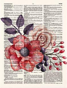 Flower Print Set of 4 Floral Print Set Flower Pink Red Rose