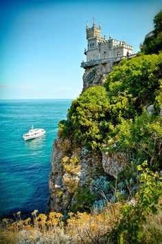 Swallow's Nest castle is located in Ukraine. This is the most beautiful castle in the world. Nest castle was built between 1911 and 1912, on top of 40-meter (130 ft) high Aurora Cliff.