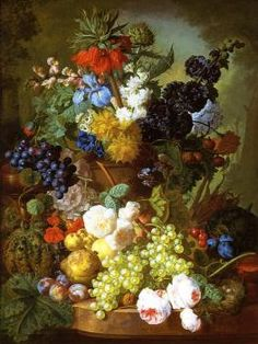 Still Life of Flowers, Fruit and Bird's Nest on a Marble Ledge - Jan van Os - The Athenaeum