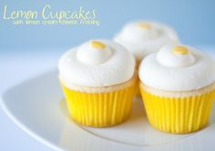 Deliciously light lemon cupcakes with lemon cream cheese frosting - yum!