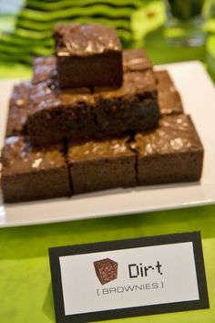 Minecraft Party Food Dirt Brownies                                                                                                                                                                                 More
