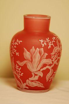 C:1900 Signed Thomas Webb & Sons English cameo glass vase
