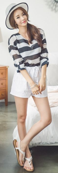 Luxe Asian Korean Women Fashion Striped roll White Blouse