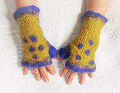Wool Fingerless Gloves Ocher Yellow Purple Norwegian ECO Wool Felt Warm Arm Warmers Hand Warmers Mittens OOAK Fingerless gloves Thumb Warmer