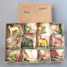 Christmas PUTZ Ark Stick Animal Bird Germany Composition Vintage Box 12 Vintage | eBay