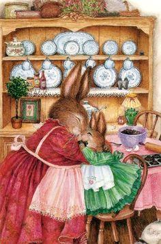 Susan Wheeler Cute rabbit, tender embrace, mother love #mothersday #mom