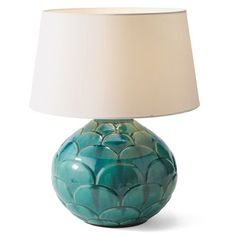"Marin Ceramic Lamp •Marin Ceramic Lamp (63226): 14"" dia. x 17-1/2""H overall.   Footprint: 10-3/4"" dia.   Shade top diameter: 11-3/4"".   Shade bottom diameter: 14-1/4"".   Shade height: 7-3/4""."