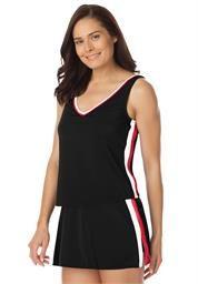 Plus Size 2-piece striped tankini swimsuit