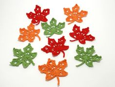 Crochet Maple Leaf, Leaves ornaments Crocheted appliques, Handmade craft supply Crochet embellishments Maple leaves Sew on patches leaves Etsy Handmade, Handmade Crafts, Handmade Items, Crochet Embellishments, Crochet Appliques, Crochet Leaves, Scrapbooking, Sew On Patches, Babyshower