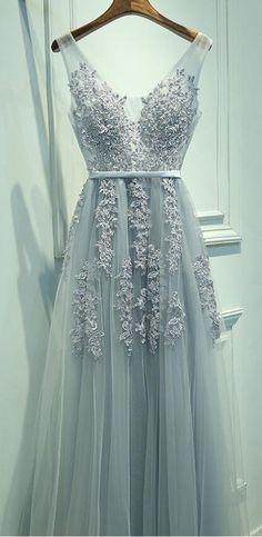 lace prom dress, prom dress, 2017 prom, long prom dress, grey prom dress, grey long prom dress, sleeveless, sleeveless prom dress, a line prom dress, v neck prom dress, tulle prom dress, fancy prom dress, elegant prom dress